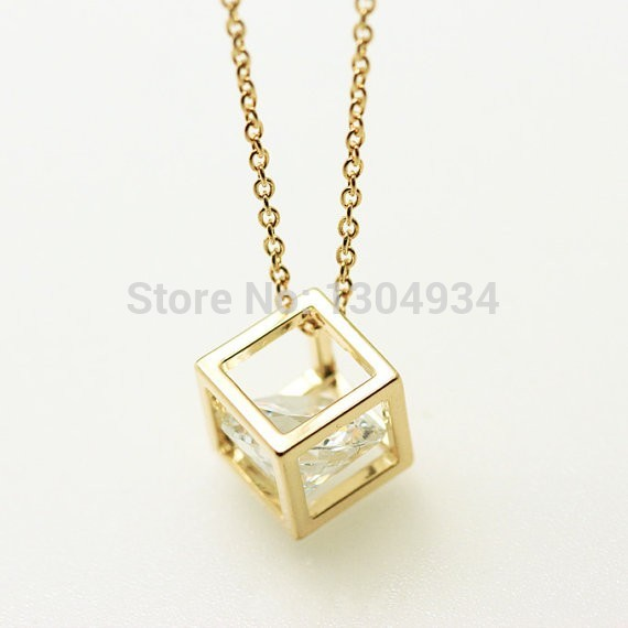 30pcs 2016 New Fashion Cube Zircon Rhinestone Necklace For Girl Popular Simple Elegant Lovely Female Gifts Jewelry Necklace N131(China (Mainland))