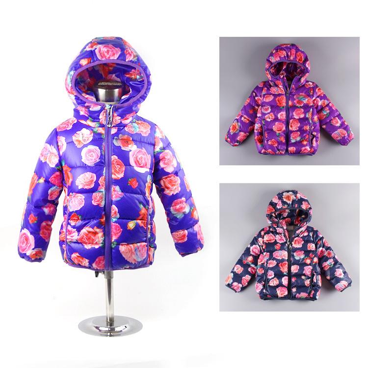 fashion Winter Girl's warm Outerwear&Coats jackets rose Flower print girl down jackets Autumn/winter baby Eiderdown cotton coat(China (Mainland))