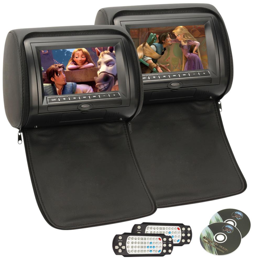 Car Headrest DVD Player Pumpkin Black Universal Digital Screen zipper Car Monitor USB FM TV Game IR Remote Support Russian(China (Mainland))