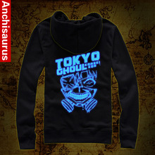 New Arrivel Tokyo Ghoul Hoodie Anime Ken Kaneki Cosplay Costume Zipper Blue Luminous Jacket Coat