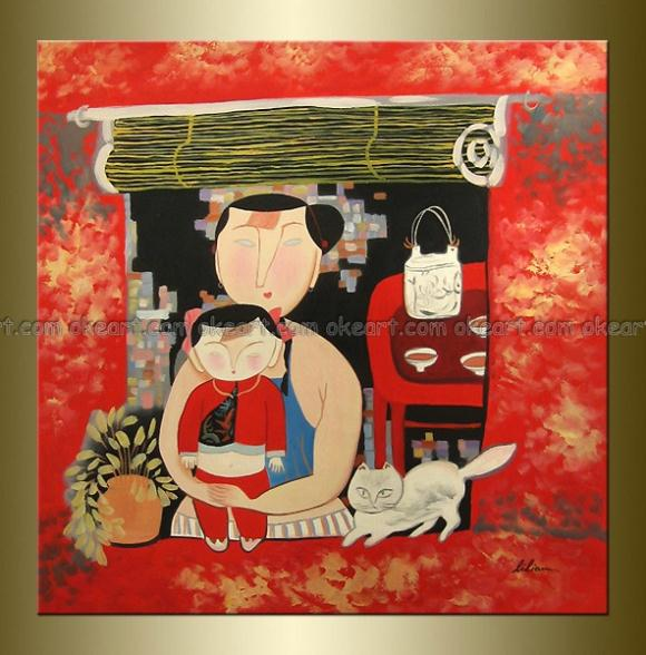 100% hand painted Lady and Her Baby Modern Abstract Abstract Restaurant background High quality wall oil paintings on canvas(China (Mainland))