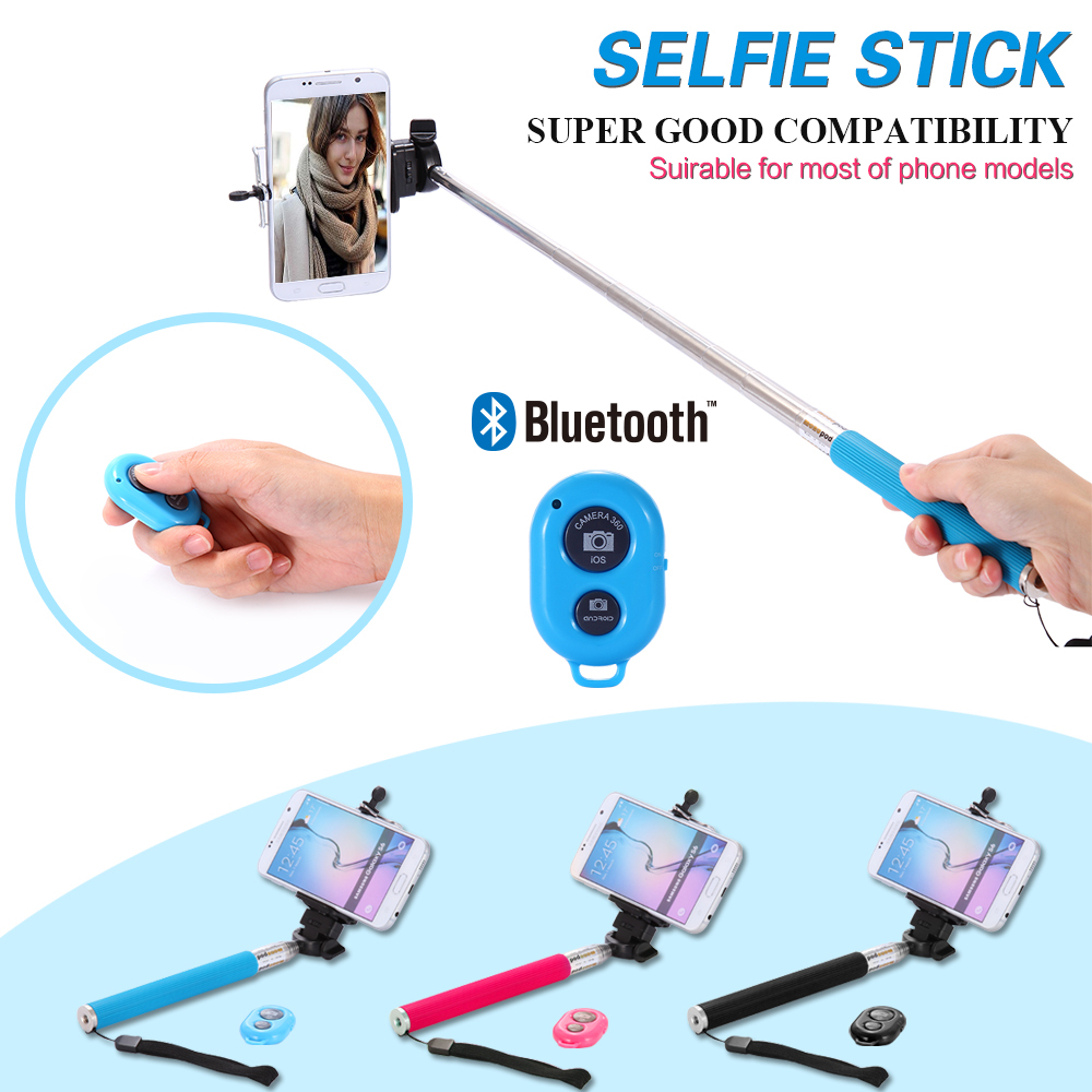 handheld monopod audio bluetooth cable selfie stick universal ios android sma. Black Bedroom Furniture Sets. Home Design Ideas