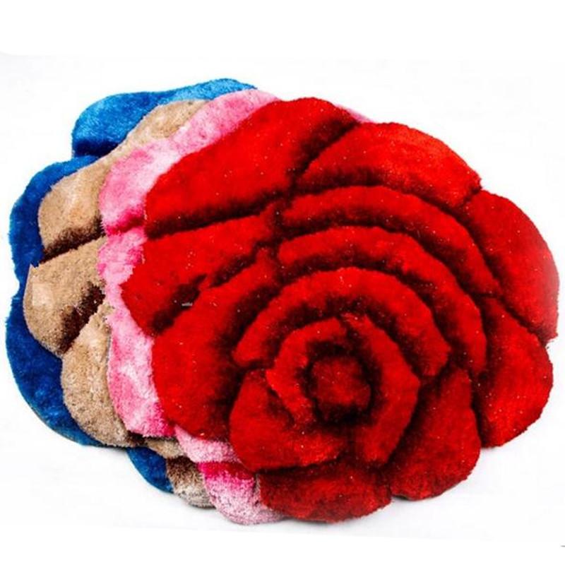 1Pcs 3D Rose Carpet For Living Room and Bathroom Bedroom Carpets wedding roses shaped carpet bedside mat windows mats Floor Mat(China (Mainland))