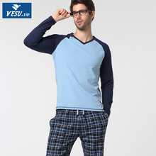 Free shipping Men's cotton long-sleeved cotton pajamas at home suits thin section tops and pants(China (Mainland))