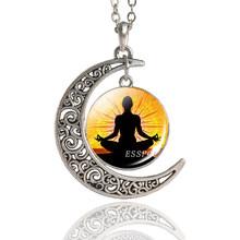 7 צ 'אקרה תליון יוגה מדיטציה שרשרת בציר בעבודת יד צ' אקרה סהר ירח שרשרת בודהיזם הודי תכשיטי נשים(China)