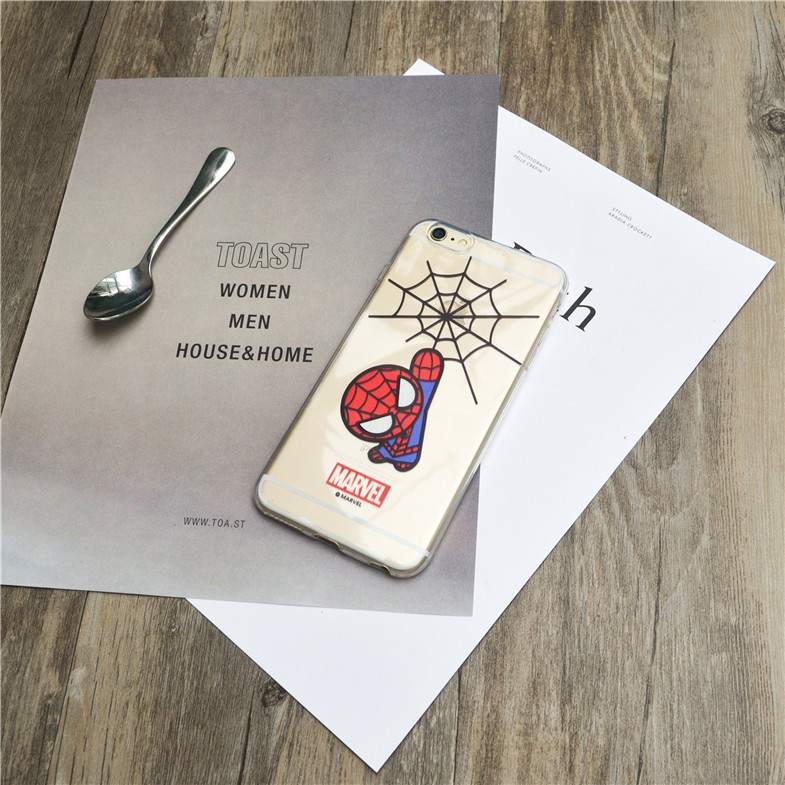 Phone Case Spider-Man Marvel The Avengers DC Comics soft silicon Transparent TPU case cover for iPhone5S SE 6 6Splus 7 7plus