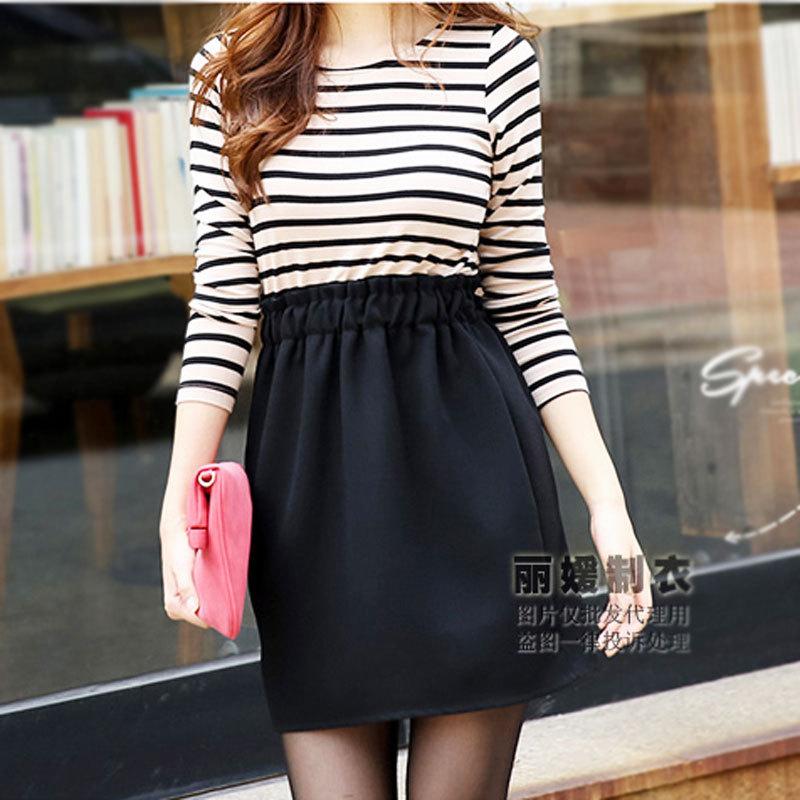 Spring And Summer Korean Version New Slim Stripe Dress Linen and Cotton Stiching Dresses O-neck Backing Vestidos Femininos(China (Mainland))