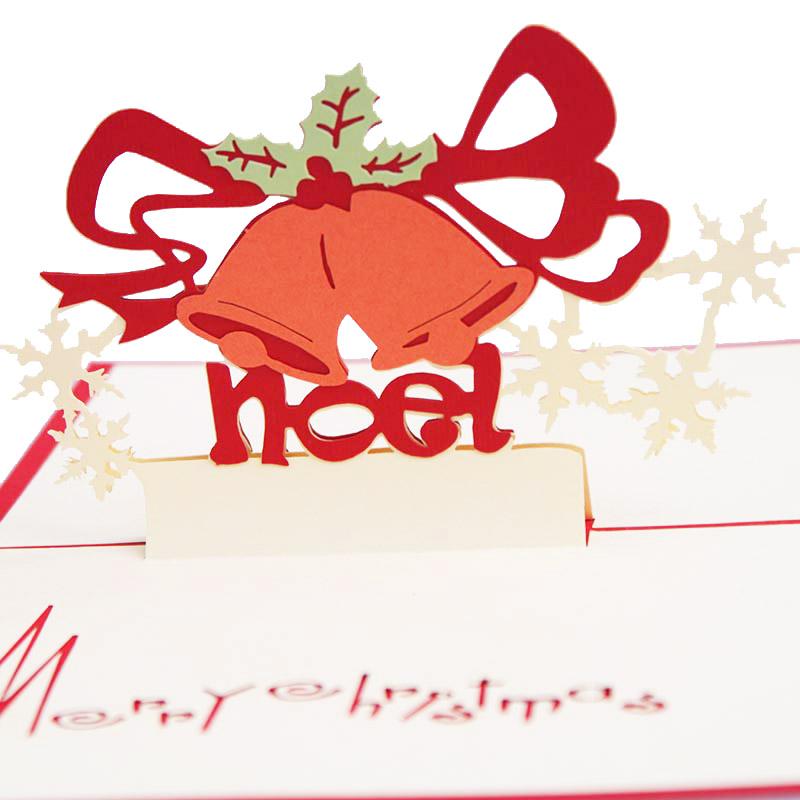 Christmas greeting card 3d paper-cut carving memorial greeting card three-dimensional bell christmas(China (Mainland))