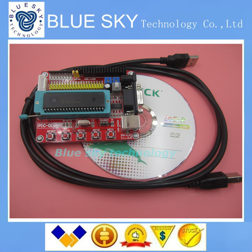 Freeship Microchip pic microcontroller minimum system development board PIC16F877A + USB CABLE(China (Mainland))