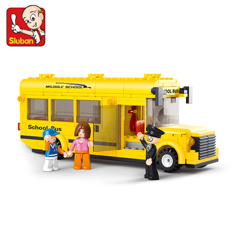 Without Original Box SLUBAN Mini school bus 218 pcs learn & education DIY enlighten building blocks for child's toy(China (Mainland))
