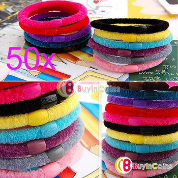 50 x Girl Soft Cotton Ring Elastic Ties Hair Band Rope #5806