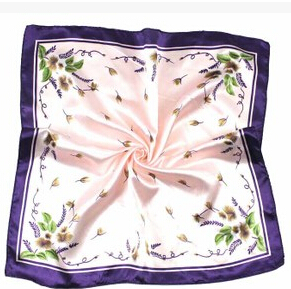 19 color New Casual Female Silk Small Square Wrap Flower Floral Printed Cute Fashion Scarf Muffler