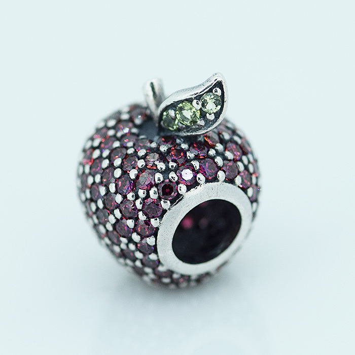 925 Sterling Silver Beads APPLE PAVE WITH FANCY RED CUBIC ZIRCONIA AND LIGHT GREEN CRYSTAL Fits Pandora Bracelets diy(China (Mainland))