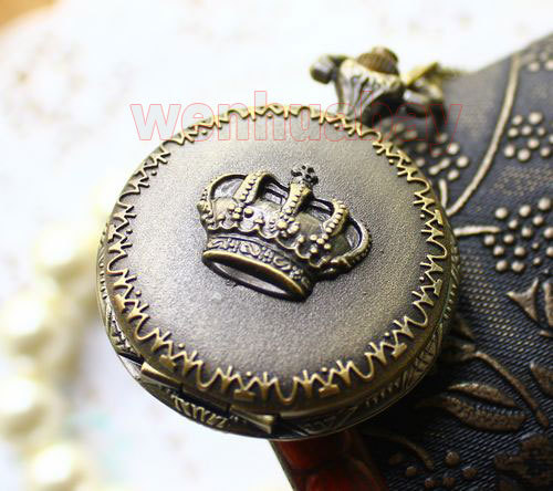Antique Bronze Royal Imperial Crown Pocket Watch Pendant Necklace Mens Gift P29(China (Mainland))