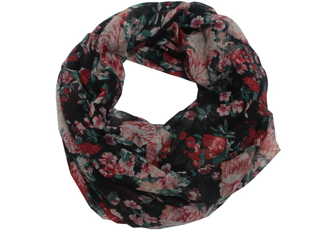 Free Shipping 2015 Ladies Winter New Fashionable Black Vintage Floral Infinity Scarfs Ring Loop For Womens Gifts(China (Mainland))