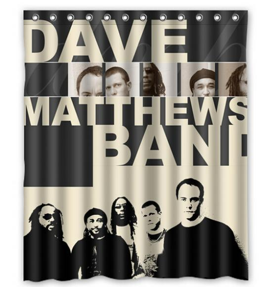 "Dave Matthews Band Black/White 12 HOOKS Moden Shower Curtain Bathroom Waterproof 66""x72"" Free Shipping(China (Mainland))"