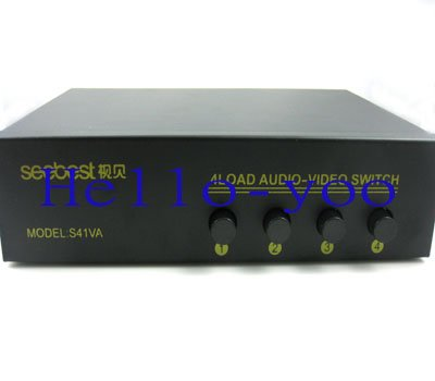 4 Port Input 1 Output Composite RCA Switch Audio Video AV Switcher Selector Box New Splitter for DVD TV free shipping(China (Mainland))
