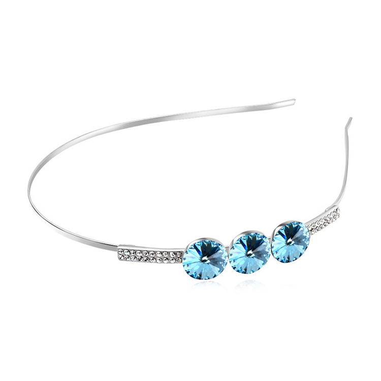 Hair Jewelry Headband Made With Swarovski Elements Crystal White Gold Plated Wedding Tiara Bridal Accessories 5 Colors Available(China (Mainland))