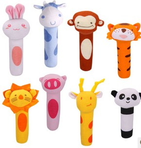 Cute 8pcs baby rattles cartoon animal forest game pacify hand grasp bb bell early development cognitive infant newborn gift toy(China (Mainland))