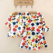 Hot Sell 2016 Family Fitted Women Rose Print Dress Fresh Lotus Sleeve Dress Girls Princess Dress Mother Daughter Dresses 9A24