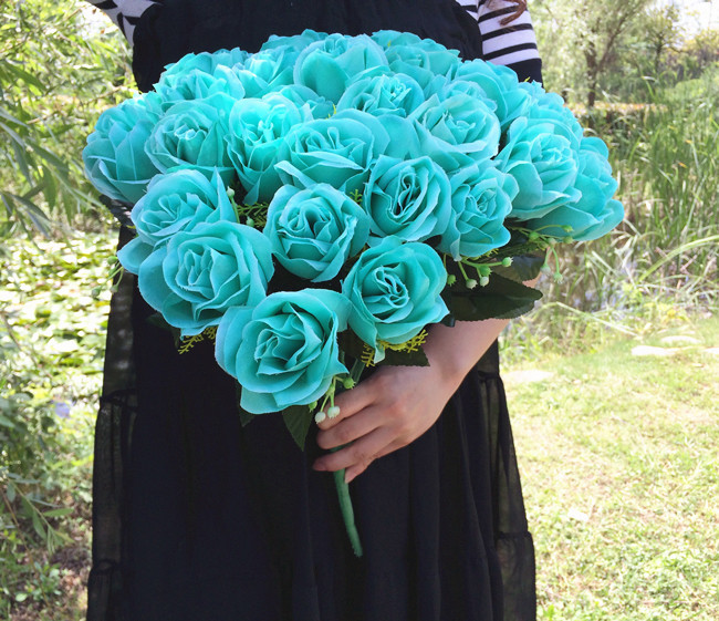 Artificial Mint Green Rose Flower Bouch (36 head/piece) Silk Roses Flowers Plastics Rose for Wedding Bride Bouquet Floral Deco(China (Mainland))