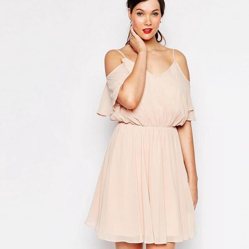 Cute New Summer Women Dresses 2016 Pink V-neck Lantern Sleeve Mini Chiffon A-Line Dress Femme Princess Vestidos for Gift DR174