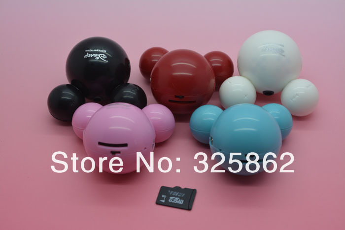 50pcs/lot New Design Mini Mickey Mouse mp3 Music Player Support 1 2 4 8 GB TF Card , Best Gift for Girlfriend or Kids!(China (Mainland))