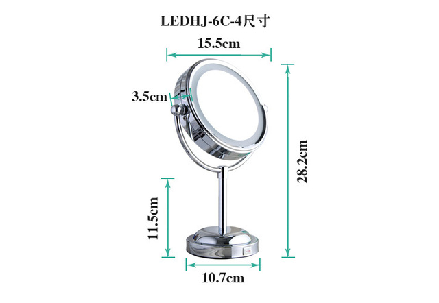 2014 new 6 inch bathroom LED mirror desk makeup illuminator for cosmetic and shaving magnifying function bathroom accessories