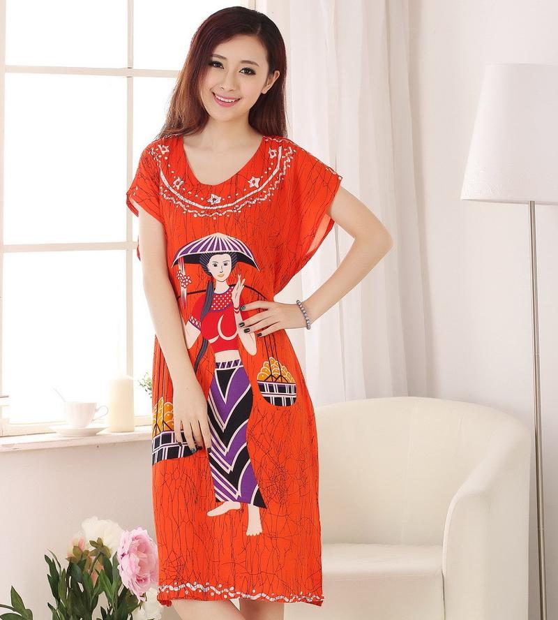 New Arrival Orange Female Cotton Robe Gown Women's Summer Lounge Sleepshirt Nightgown Novelty Print Sleepwear One Size NB073(China (Mainland))