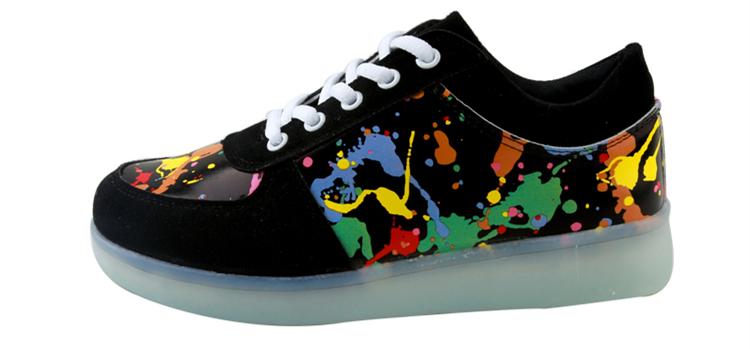 7ipupas Men Unisex Fashion Luminous Led Shoes Graffiti Color LED Lights USB Charging Colorful Shoes Lovers Casual Flash Shoes