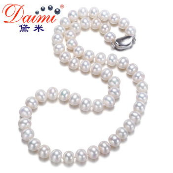 [Daimi] Women Favorite Freshwater Pearl Necklace 100% Natural Pearl Choker Necklace BEAUTIFUL Classical Joker Fine Jewelry