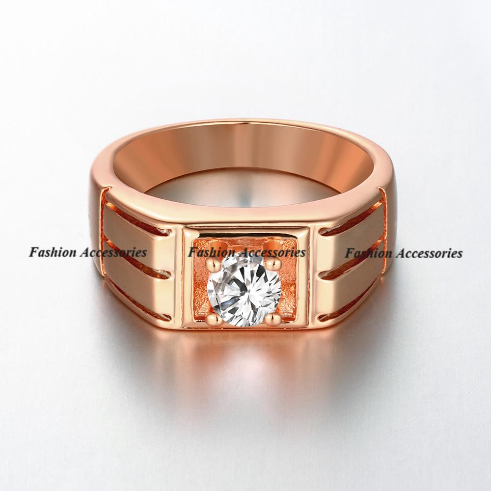 Classic Engagement Ring men 18K Rose gold filled wedding band ring AAA  Swiss CZ Diamond promise ...
