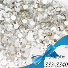 Wholesale ! ss3-ss40 Crystal decorations Flat Back rhinestones for nails stones Non Hotfix Glue on 3d nail art rhinestones diy(China (Mainland))