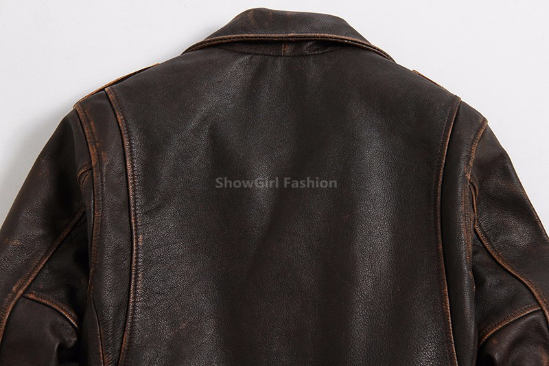 2017 New Men Retro Vintage Brown Leather Motorcycle Jacket Real Thick Cowhide Slim Fit Winter Men Short Biker Coat FREE SHIPPING