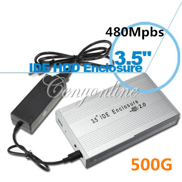 USB 2.0 500G 480Mpbs 3.5inch External IDE HDD Hard Drive Disk Case Box Enclosure For Win 7 8 XP Vista laptop PC Notebook Sliver(China (Mainland))