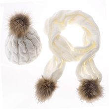 5colors women winter Skullies Beanies fashion solid Knitted cotton hats and Scarf Set for girls faux fur hat scarf shawls adult(China (Mainland))