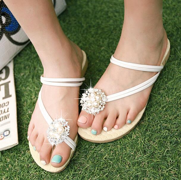 ENMAYER 2015 Womens Flats Shoes women Flip Flops Flowers Rivets Summer Casual Sandals Beading shoes Platform sandals size 34-43<br><br>Aliexpress