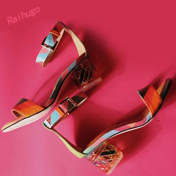 Горячая 2015 энтузиазм цвет смешивания большой размер лето стиль женщины копыта пятки сандалии кожа коровы красивая радуга высокий каблук простой один ремень