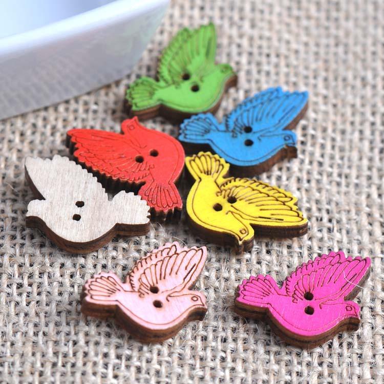 100pcs 15x26mm mixed bird wooden decorative buttons for for Decorative buttons for crafts