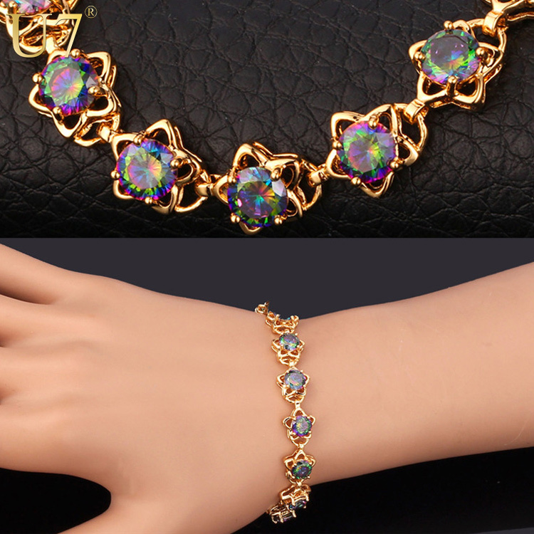 U7 Mystic Topaz Gold Zirconia Bracelet Trendy Platinum Plated Luxury Colorful Zircon Jewelry 20CM Link Chain Bracelet Women H554(China (Mainland))