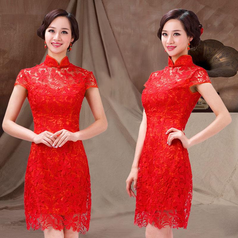 2013 red cheongsam dress bridal lace cheongsam bag formal dress fashion vintage evening dress slim hip(China (Mainland))