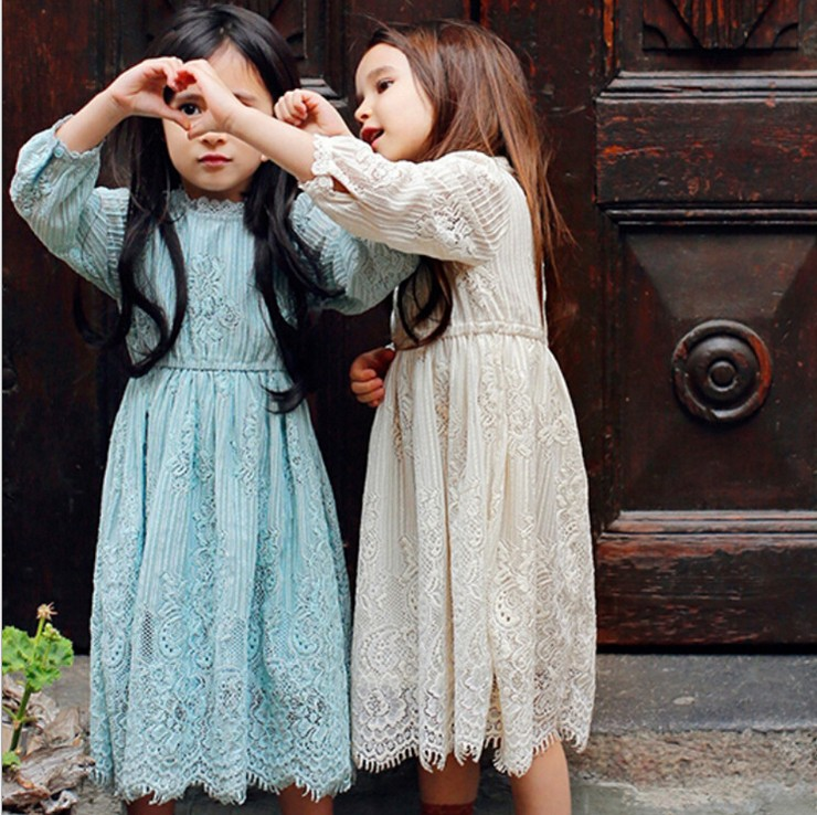 2015 Korean girls Long sleeve lace dress princess dress in winter childrens  wholesale<br>