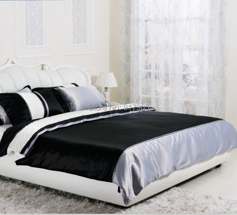 Free shipping fashion black white queen comforter sets for Elegant white comforter sets