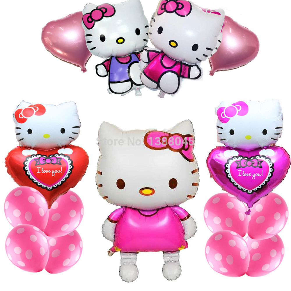 15pcs/Lot Large Kitty Cat Foil Baloon Hello Kitty Party Supplies Kids Birthday Decorations Air Balloons mylar baloes globos(China (Mainland))