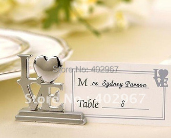 Free Shipping 60pcs/lot Wedding Bridal favour supplies, LOVE Metal Place Card Holders, Silver banquet table decoration