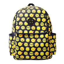 New brand 2015 Fashion Women Canvas Backpacks Smiley Emoji Face Printing Schoolbag(China (Mainland))