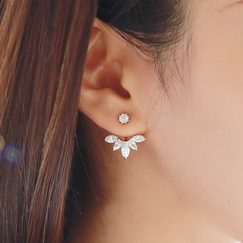 2015 Fashion Earing Big Crystal Silver Plated Ear Jackets Jewelry High Quality Leaf Ear Clips Stud Earrings For Women 1 Pair