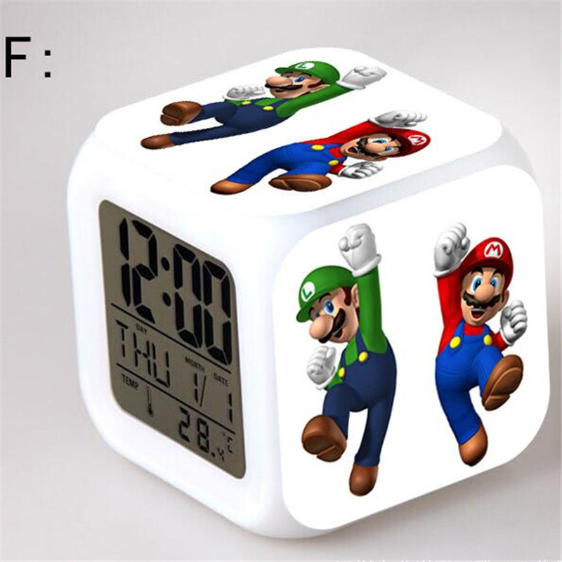 Super Mario Bros Digital Alarm Toy Clocks Action Figures Toys & Hobbies Dolls Nightlight Supermario Colorful Glowing Light Toy(China (Mainland))