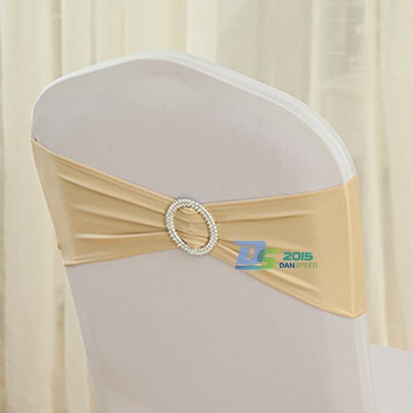 Beige Stretch Chair Cover Band With Buckle Slider Replace Chair Sash Bow Wedding Decor #FASHION(China (Mainland))