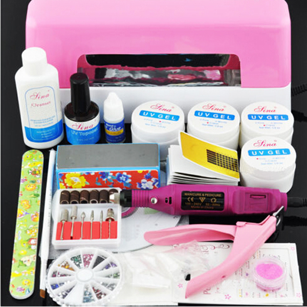 9W UV GEL Pink Lamp NAIL Art Tips KITS + 5 Glitter Powder Nail Drill Set(China (Mainland))